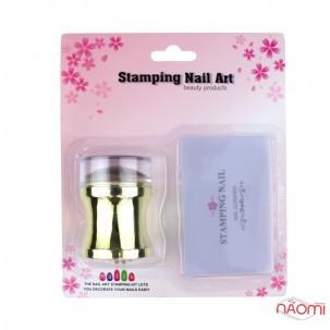 Набір для стемпінга Stamping Nail Art, штамп і скрапер, колір золото