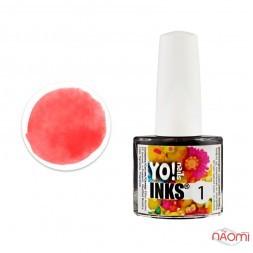 Чорнило Yo nails Inks 1, колір червоний, 5 мл