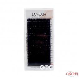 Вії Lamour C 0,07 (20 рядків: 7-12 мм), чорні