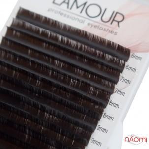 Вії Lamour D 0,07 (20 рядків: 6-13 мм), темний шоколад