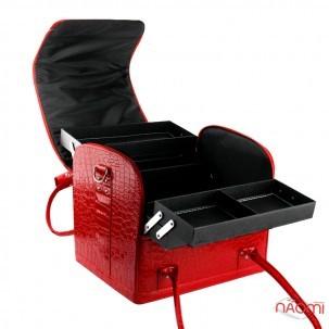 Бьюти-кейс мастера маникюра, парикмахера, визажиста с полками 2700-1, 29х24х25 см, цвет красный лаковый