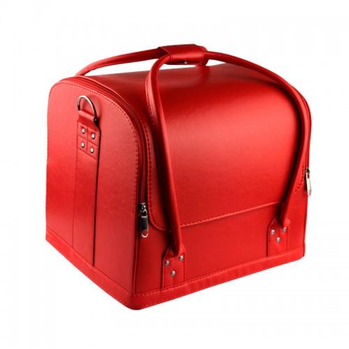 Бьюти-кейс мастера маникюра, парикмахера, визажиста с полками 2700-1, 29х24х25 см, цвет красный матовый, фото 1, 597.00 грн.