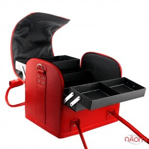 Бьюти-кейс мастера маникюра, парикмахера, визажиста с полками 2700-1, 29х24х25 см, цвет красный матовый