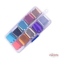 Набір перебивної фольги для нігтів 2х90 см, 10 видів, колір в асортименті