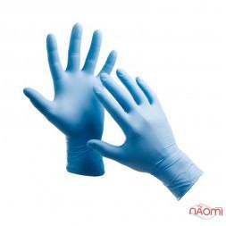 Перчатки нитриловые упаковка - 50 пар, размер L (без пудры), синие