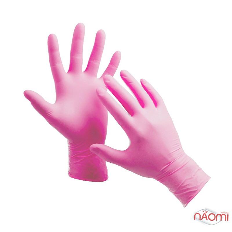 Перчатки нитриловые упаковка - 50 пар, размер M (без пудры), розовые, фото 1, 499.00 грн.