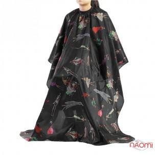 Пеньюар перукарський багаторазовий, колір чорний з малюнком, 1шт