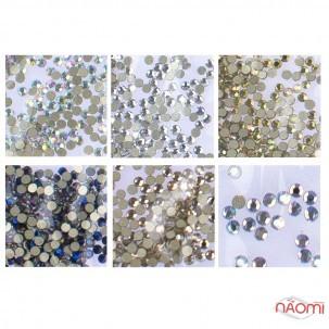 Стразы ss3, цвет серебро, серебро с голограммой, золото, золото с голограммой, синее пламя, 1440 шт.