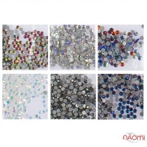 Стрази ss3, колір срібло з голограмою, мікс, графіт, синє полум'я, прозорий з голограм., 1440 шт.