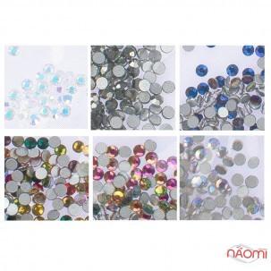Стрази ss4, колір срібло з голограмою, мікс, графіт, синє полум'я, прозорий з голограм., 1440 шт.