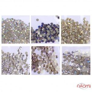 Стрази ss4, колір срібло, срібло з голограмою, золото, золото з голограмою, синє полум'я, 1440 шт.