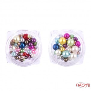 Декор для нігтів в баночці перли, колір в асортименті