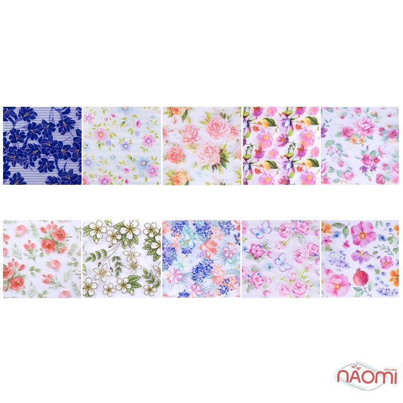 Набор переводной фольги для ногтей 4х60 см, 10 видов, цветы, фото 2, 79.00 грн.