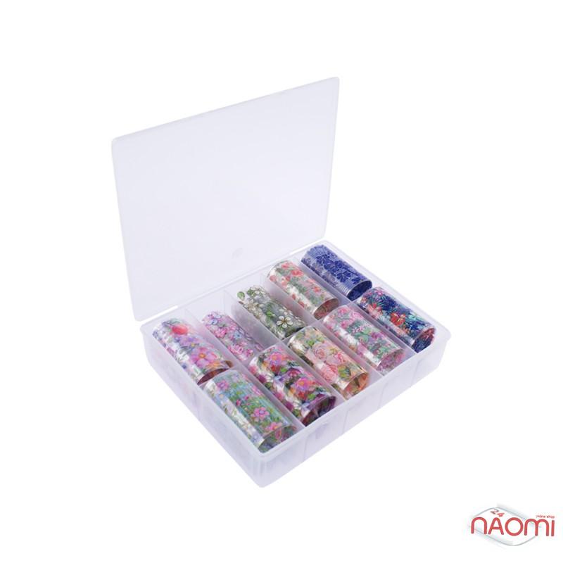 Набор переводной фольги для ногтей 4х60 см, 10 видов, цветы, фото 3, 79.00 грн.