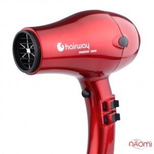 Фен Hairway Phoenix Ionic с ионизацией, сменными насадками и диффузором, 2000 W, цвет красный
