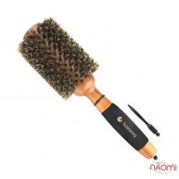 Брашинг для волос Hairway Round Brush Gold Wood Дикобраз с натуральной щетиной, деревянный, d=70 мм