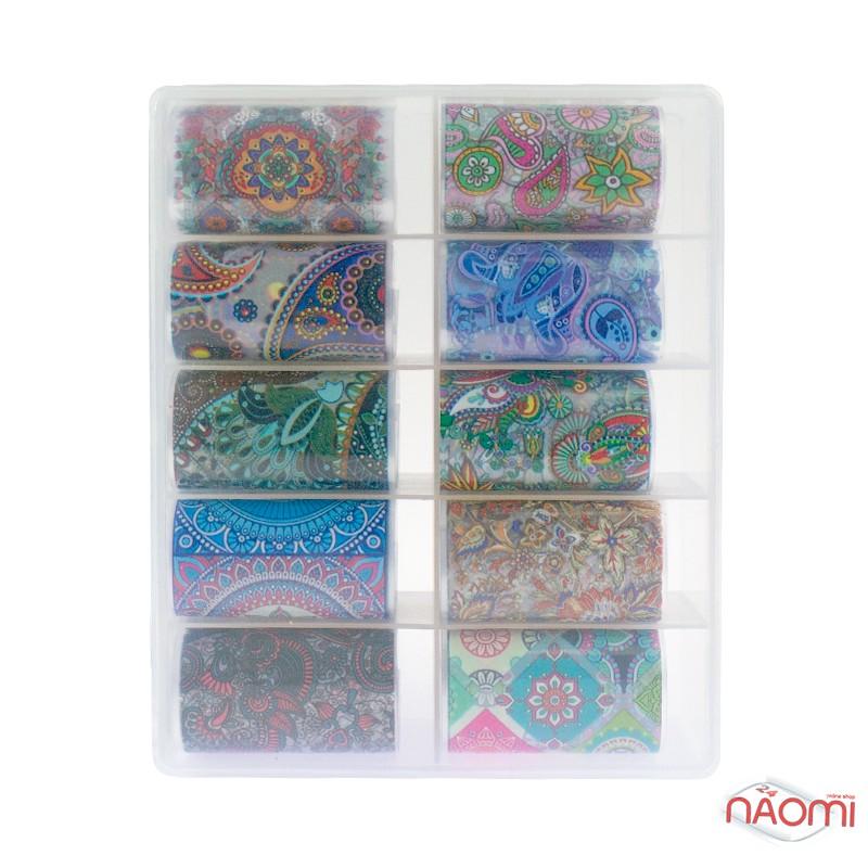 Набор переводной фольги для ногтей 4х60 см, 10 видов, узоры, фото 3, 79.00 грн.