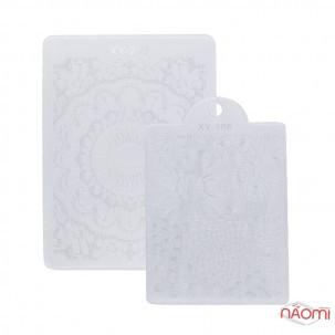 Двухуровневый силиконовый штамп для стемпинга, со стразами, скрапер и пластина, цвет в ассортименте