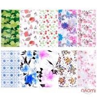 Набор переводной фольги для ногтей 4х60 см, 10 видов, цветы, узоры