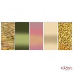 Набір перебивної фольги для нігтів 4х100 см, Золотий, 5 видів