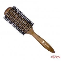 Брашинг для волос Hairway Round Brush Glossy Wood Дикобраз со смешанной щетиной, деревянный, d=73 мм