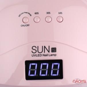 УФ LED лампа SUN 1s, 48 Вт, таймер 10,30,60,99 сек, з дисплеєм, колір рожевий