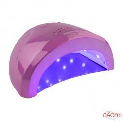 УФ LED лампа світлодіодна Sun One Mirror Pink 48 Вт і 24 Вт, таймер 5, 30, 60 сек, дзеркально-рожева