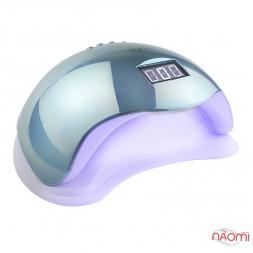 УФ LED лампа світлодіодна Sun 5 Mirror Blue 48 Вт, таймер 10, 30, 60, 99 сек, колір дзеркально-блакитний