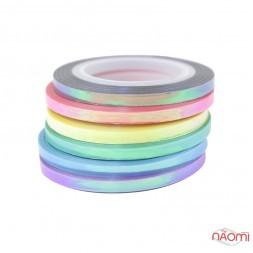Лента-скотч для ногтей, русалка, набор 6 шт., цвет ассорти, 3 мм