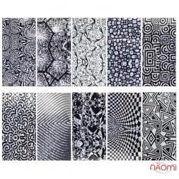 Набор переводной фольги для ногтей 4х60 см, 10 видов, узоры, геометрия