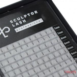 Пучкові вії Sculptor Lash 4D D 0.07 (20 рядів: 7-13 мм), чорні