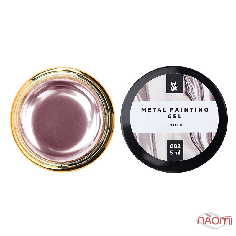 Гель-краска F.O.X Metal Painting Gel 002, цвет розовый, 5 мл, фото 1, 140.00 грн.