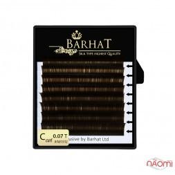 Вії Barhat C 0.07 (8 рядів: 9, 10, 11, 12 мм), темно-коричневі