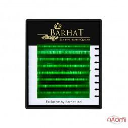 Вії Barhat C 0.10 (8 рядів: 9, 10, 11, 12 мм), зелені