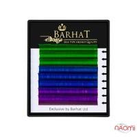 Ресницы Barhat Color MIX C 0.10 (8 рядов: 12 мм), зеленые, синие, фиолетовые