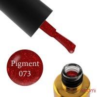 Гель-лак F.O.X Pigment 073 клубнично-красный с красными блестками, 6 мл