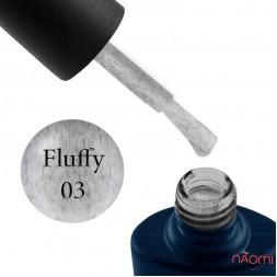 Гель-лак NUB Fluffy Gel 03 белый, с серым флоком, 11,8 мл