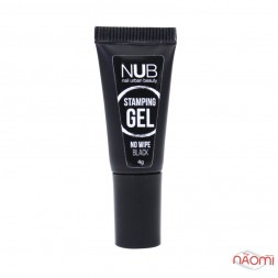 Гель для стемпинга без липкого слоя NUB Stamping Gel No Wipe Black, цвет черный, 4 г