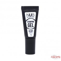 Гель для стемпінгу без липкого шару NUB Stamping Gel No Wipe White, колір білий, 4 г