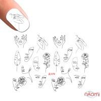 Слайдер-дизайн Д 379 Девушки, лица, розы контурные