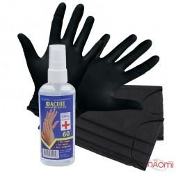 Мини набор для индивидуальной защиты, перчатки, маски, антисептик для рук Фасепт, 60 мл