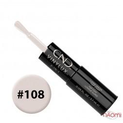 Лак-олівець CND Vinylux 108 Cream Puff яскравий молочно-білосніжний, 3,7 мл + закріплювач, 3,7 мл