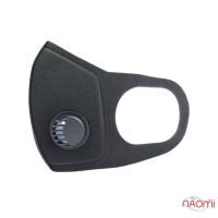 Маска-респіратор на обличчя багаторазова захисна PITTA Mask SponDuct із клапаном,  колір чорний