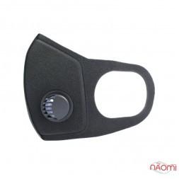 Маска-респиратор на лицо многоразовая защитная PITTA Mask SponDuct с клапаном,  цвет черный