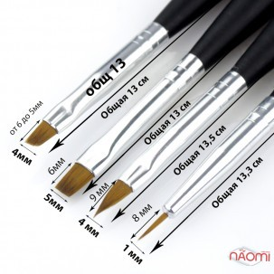 Набір пензликів для моделювання нігтів MILEO, колір чорний, 4 шт.