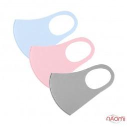 Питта-маска на лицо многоразовая защитная, тонкий синтетический материал, цвет ассорти, 3 шт.