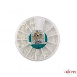Декор для нігтів Global Fashion в контейнері Карусель напівперлини асорті, колір білий з перламутром