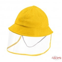 Панама дитяча з прозорим захисним екраном, з резинкою, окружність голови 50-52 см, колір жовтий