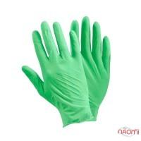 Перчатки нитриловые упаковка - 50 пар, размер S (без пудры), зеленые