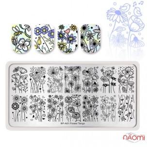Пластина для стемпинга Born Pretty A01 Flower Tango Цветы